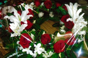 Round Red and white Flower Arrangement